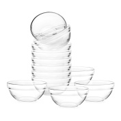 Mini 8.9cm Glass Bowls for Kitchen Prep, Dessert, Dips, and Candy Dishes or Nut Bowls, Set of 12