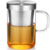 Ecooe Clear Glass Tea Mug Cup with Stainless Steel Infuser Lid for Loose Tea/Tea Bag 500ml