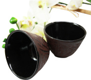 Japanese Cast Iron Tea Cups Set of Two Bamboo Design Red Burgundy Colour