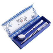 THY COLLECTIBLES Elegant Oriental Inspiration Silver Stainless Steel Chopsticks & Spoon Set In Gift Box, 2 Piece