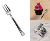 Mini Silver Disposable Dessert And Appetiser Forks Set Of 48, 11cm