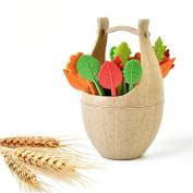 Katoot@ 16pcs/set Eco-friendly Biodegradable Leaves Fruit Forks with Barrel Holder Salad Fruit Picks Cocktail Sticks Kitchen Accessories