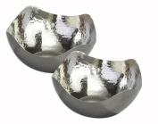 Elegance Silver Set of 2 Elegance Hammered 14cm Stainless Steel Wave Serving Bowls