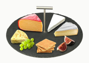 Artestia Round Slate Cheese/Tapas Serving Board with Stainless-Steel Carrying Handle