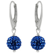 "Royal Crystals ""Made with Elements"" Sterling Silver Pave Disco Ball Earrings"