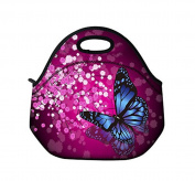 Schoolsupplies Insulated Waterproof Portable School Office Lunch Tote Handbag Lunchbox Food Container Gourmet Tote Food Cooler Container Carrying Neoprene Lunch Bag-blue butterfly