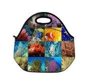 Schoolsupplies Insulated Waterproof Portable School Office Lunch Tote Handbag Lunchbox Food Container Gourmet Tote Food Cooler Container Carrying Neoprene Lunch Bag-The underwater world