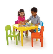 Tot Tutors Vibrant Colours for child's room or playhouse use Kids Plastic Table and 4 Chairs Set