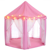 Nacy Kids Indoor Princess Castle Play Tent Children Playhouse with Led Star Lights - Perfect Christmas Gift Presents For Childs Toddlers, Pink