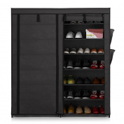 IKAYAA Portable Standing Fabric Shoes Rack Cabinet Shoe Storage Organiser Non Woven Zip Up, 7 Tier