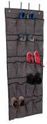 Internet's Best Over the Door Hanging Shoe Organiser | 20 Pocket Closet Shoe Bins | Large Canvas Pockets | Grey