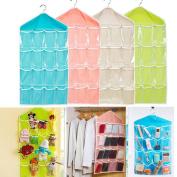 DODOING 16 Pockets Waterproof Clear Over Door Hanging Bag Shoe Rack Hanger Storage Organiser