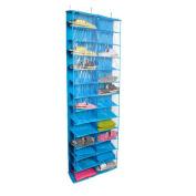 Gobuy Clear PVC Over The Door 26-pocket Hanging Shoes Organiser, Washable Oxford Shoe Rack, Storage Bag
