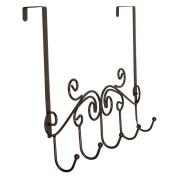 Richards Homewares Tuscany Over the Door 5 Hook Rack, Bronze