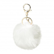 Key Ring Franterd Novelty Rabbit Fur Ball Charm Key chain Bag Plush Car Key Pendant