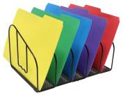 DecoBros Desk File Sorter Organiser, 5 Sections, Black