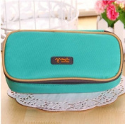 E-Goal Big Capacity Candy Colour Brief Canvas Pencil Case Multifunction Stationery Storage Organiser Bag-Green