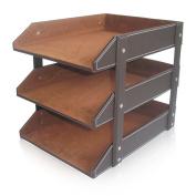 KINGFOM™Leather Office File Document Tray Case Rack Desk File Document Organiser Holder