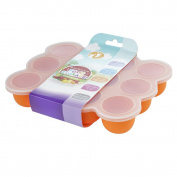 Large Size Silicone Baby Food Storage Container / 12 Easy to Remove Pots / Weaning Tray / Freezer, Dishwasher & Microwave Safe - Secure Lid Included
