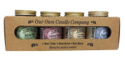4 Pack Christmas Assortment Mini Mason Jar Candles - 100ml Balsam Pine, 100ml Cranberry Orange Spice, 100ml Homemade Sugar Cookie, 100ml Winter Wonderland, By Our Own Candle Company