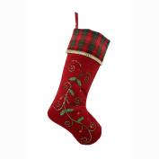 Valery Madelyn 50cm Traditional Holly Leaves Stocking with Red and Green Tartan Cuff