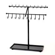 Adjustable Height Black Metal 30-Hook Necklace / Bracelet Jewellery Organiser Display Rack by Arad
