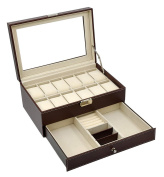 Autoark Leather 12 Mens Watch Box with Jewellery Display Drawer Lockable Watch Case Organiser,Brown,AW-003