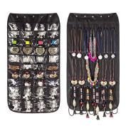 Jewellery Organiser Hanging Bag 40 Pockets & 20 Hook-and-loop Tabs Earrings Necklace Bracelet Holder Dual Sided Space-Saving Household Closet Accessory Storage Bag with Hanger