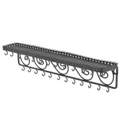 Wall Mounted Black Metal Scrollwork Design Cosmetics Storage Shelf w/ 25 Necklace Hanging Hooks - MyGift