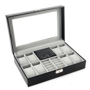 Autoark Leather Jewellery Box Watch Organiser,Black,AW-002