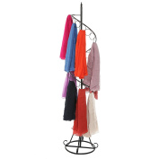 Freestanding Black Metal Spiral Design 25 Ring Scarf Hanger Organiser / Retail Store Display Stand Rack