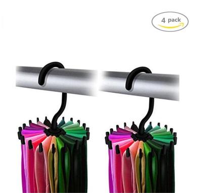 4 Pack 360 Degree Rotating Twirl Tie Rack Adjustable Tie Belt,Multipurpose Organiser,Scarf Hanger Hook Ties Scarf for Closet Storage (11cm black)