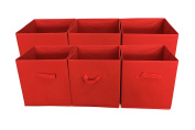 Sodynee® Foldable Cloth Storage Cube Basket Bins Organiser Containers Drawers, 6 Pack, Red