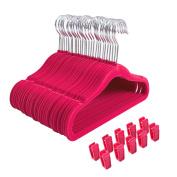 Finnhomy Non-slip Clothes Hanger for Baby and Kids 30-Pack Velvet Hangers with 10 Finger Clips,Pink