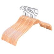 10-Pack Wooden Clothes Hanger, Royalhanger Coat Hangers with Non-Slip Pant Bar,Natural Finish