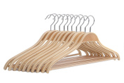 J.S. Hanger Solid Natural Wooden Coat Shirt Hangers with Non-slip Pant Bar, 10-Pack
