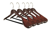 Set of 5 Luxury Wooden Suit Hangers - Extra Wide Wood Hangers with Velvet Bar for Coats and Pants