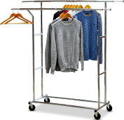 SimpleHouseware Commercial Grade Double Rail Clothing Garment Rack with 10cm Casters, Chrome