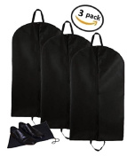 Deluxe Breathable 3pc Travel Suit Garment Bags With Handles, with Shoe Bag