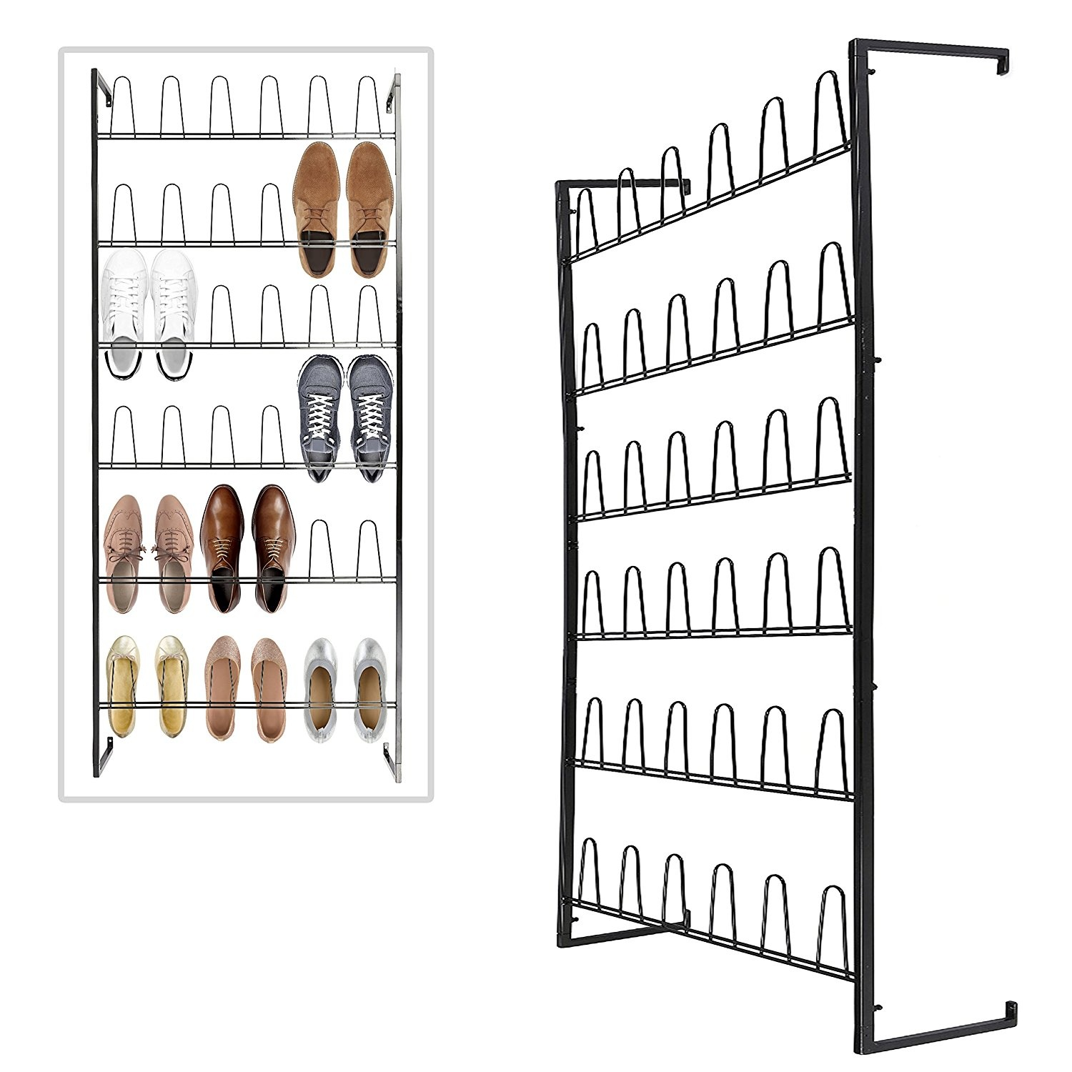 Wall Mounted Black Metal 36 Hook Shoe Rack 18 Pair Entryway Shoe