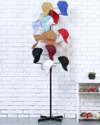 Modern Black Metal Freestanding Customizable Retail Hat Rack / Wig Display Stand w/ 20 Circular Hat Hooks