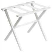 Gate House Furniture White Wood Folding Luggage Rack with Straight Legs and 4 White Straps