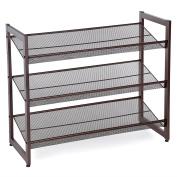 SONGMICS 3-Tier Stackable Metal Shoe Rack Flat & Slant Adjustable Shoe Organiser Shelf for Closet Bedroom & Entryway Bronze ULMR03A