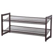 SONGMICS 2-Tier Stackable Metal Shoe Rack Flat & Slant Adjustable Shoe Organiser Shelf for Closet Bedroom & Entryway Bronze ULMR02A