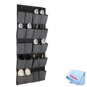 20 Pocket Hanging Shoe Organiser/Caddy In Grey/Black + Tronixpro Microfiber Cloth