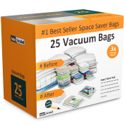 Home-Complete Vacuum Storage Bag Bundle - 25 Space Saver Bags and Free Travel Pump - Save Closet Space with Airtight Bags