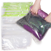 8 Travel Storage Bags for Clothes - No Vacuum or Pump Needed -Reusable Space Saver Packing Sacks (4 items - 70cm x 50cm , 4 items - 60cm x 41cm ) - Rolling Compression for Luggage