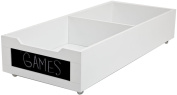 Homz Long Underbed Wood Storage w/Chalkboard Label Front, Casters, White Finish