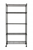 Finnhomy 5 Tier Wire Shelving Unit, Adjustable Steel Wire Rack Shelving, 5 Shelves Storage Rack with Wheels & Stable Levelling Feet, Black