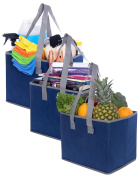 Planet E Reusable Grocery Shopping Bags Large Collapsible Boxes With Reinforced Bottoms Made of Recycled Plastic